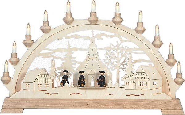 schwibbogen seiffener kirche mit figuren aus dem erzgebirge. Black Bedroom Furniture Sets. Home Design Ideas