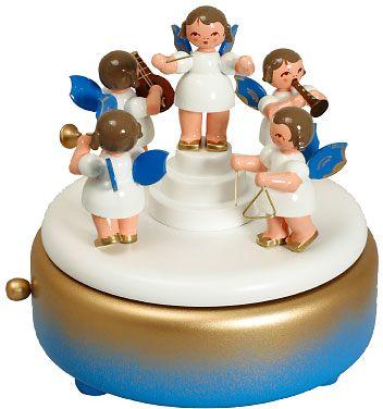 Spieldose Engel blau