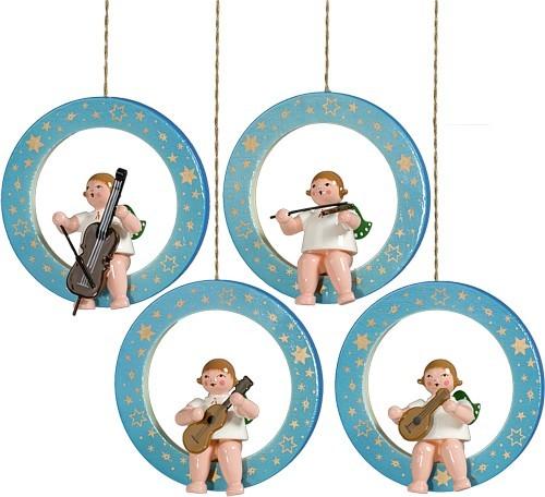 4 Engel im blau-weiß schattierten Ring