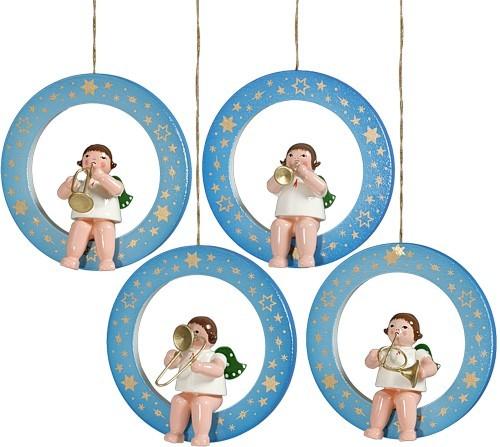 4 Engel im blau-wei� schattierten Ring