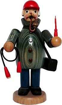 R�ucherm�nnchen Elektriker mit blauer Jacke