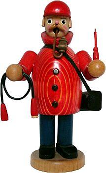 R�ucherm�nnchen Elektriker mit roter Jacke