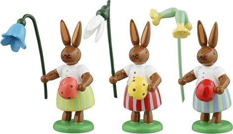 Hasen mit Ei und Blumen 3teilig Variante1