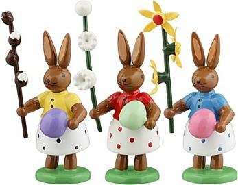Hasen mit Ei und Blumen 3teilig Variante2