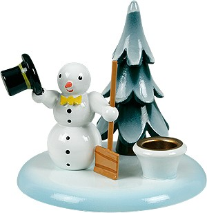 Kerzenhalter Schneemann mit Schippe und Baum