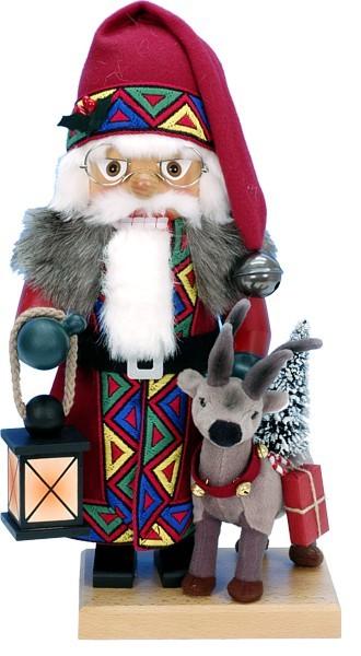 Nussknacker Weihnachtsmann mit Rentier