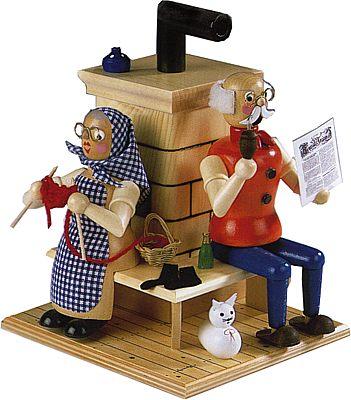 R�uchermann Oma und Opa am Ofen