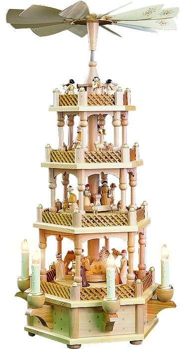Weihnachtspyramide Christi Geburt, 3-st�ckig, natur, elektrisch