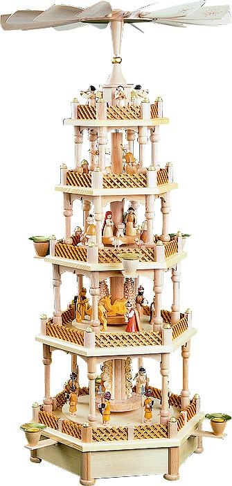 Weihnachtspyramide Christi Geburt 4-stöckig, natur, Spielwerk