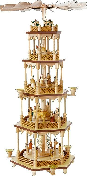 Weihnachtspyramide Christi Geburt 4-stöckig