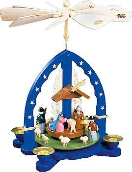 Weihnachtspyramide Christi Geburt, blau