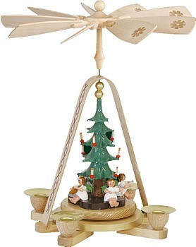 Weihnachtspyramide Engel mit Christbaum