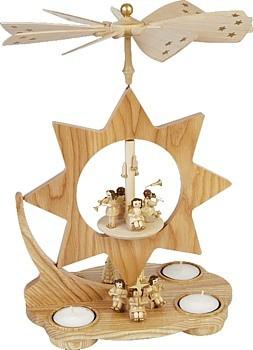 Teelichtpyramide Stern, musizierende Engel