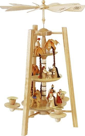 Weihnachtspyramide Christi Geburt 3-st�ckig, natur