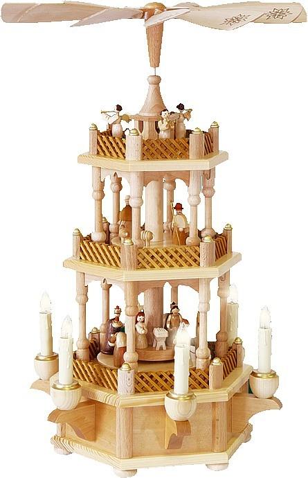 Weihnachtspyramide Christi Geburt, 2-stöckig, natur, elektrisch