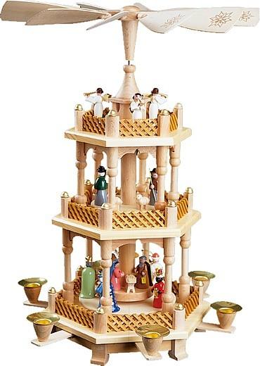 Weihnachtspyramide Christi Geburt, bunt