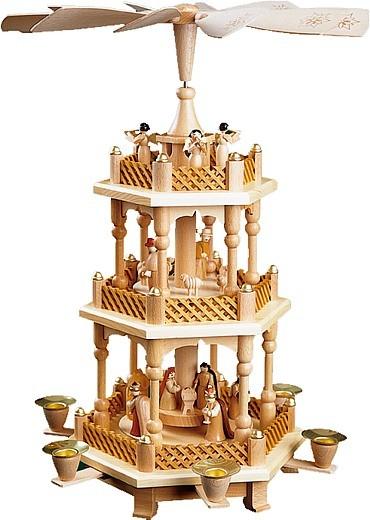 Weihnachtspyramide Christi Geburt, 2-st�ckig, natur