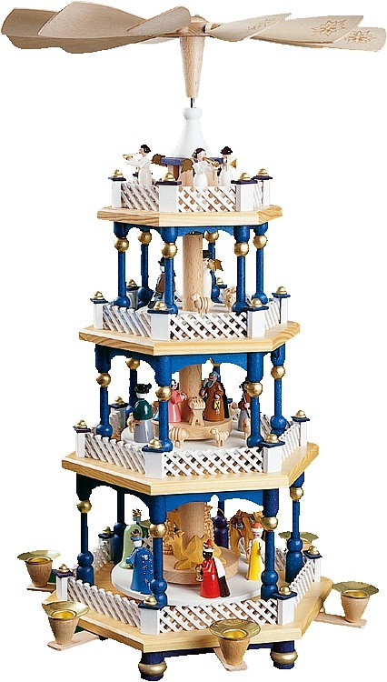 Weihnachtspyramide Christi Geburt, 3-stöckig, blau