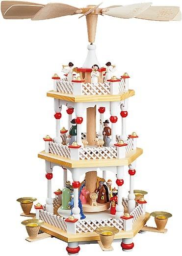 Weihnachtspyramide Christi Geburt, 2-stöckig, weiß
