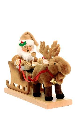 R�uchermann Weihnachtsmann mit Schlitten natur