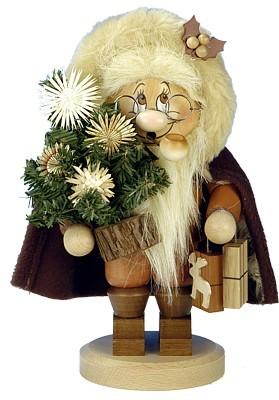 Räuchermännchen Wichtel Santa mit Strohsternbaum