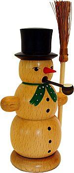 Räucher - Schneemann mit Besen naturfarben