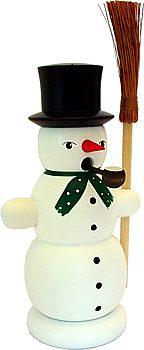 Räucher - Schneemann mit Besen weiß