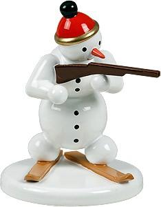 Schneemann Biathlet stehend