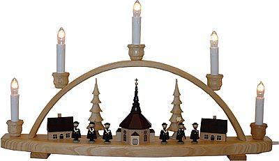 el schwibbogen seiffener kirche mit kurrende farblos lackiert aus dem erzgebirge. Black Bedroom Furniture Sets. Home Design Ideas