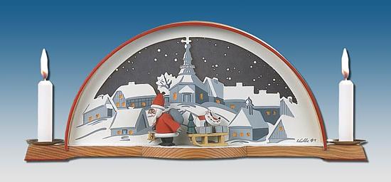 Kolbe Schwibbogen mit Weihnachtsmann +
