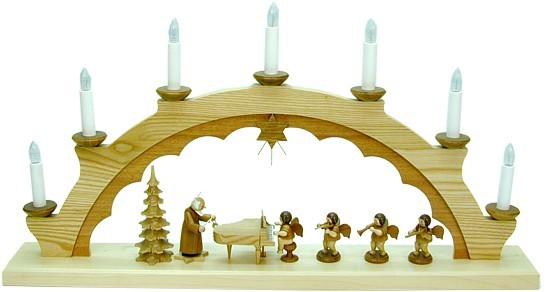 Schwibbogen Petrus mit Engel am Klavier