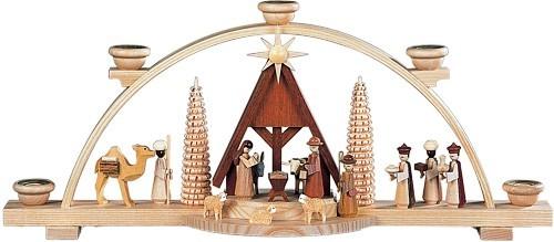 Schwibbogen Christi Geburt mit Krippe Natur