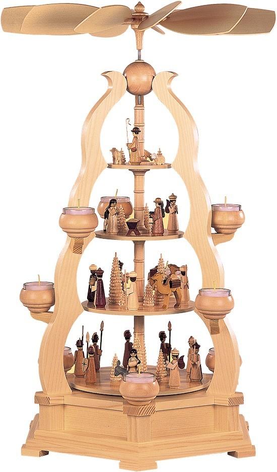 Teelicht Bogenpyramide heilige Geschichte 4-st�ckig Natur
