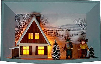 Wandbild elektrisch beleuchtet mit Waldleuten