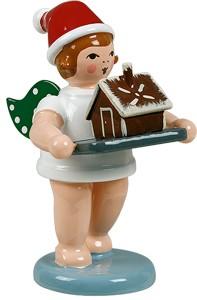 Weihnachtsengel mit Backblech und Pfefferkuchenhaus