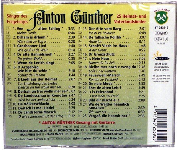 CD Anton G�nther, 25 Heimat- und Vaterlandslieder