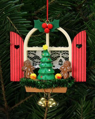 Baumbehang Adventsfenster mit Lebkuchen