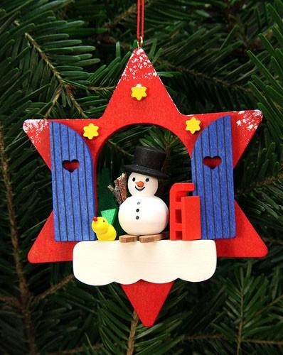 Baumbehang Sternfenster mit Schneemann
