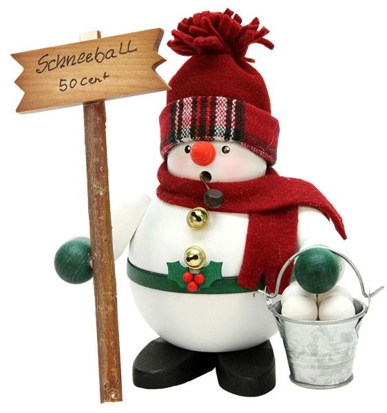 R�uchermann Schneemann mit Schneeb�llen