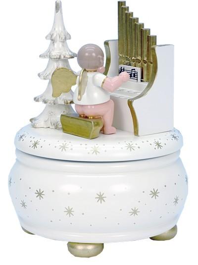 Spieldose Engel an Orgel weiß