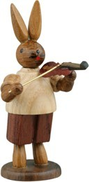 Hasenmusikant mit Geige / natur