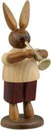 Hasenmusikant mit Trompete / natur