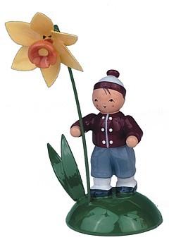 Blumenkind Junge mit Narzisse