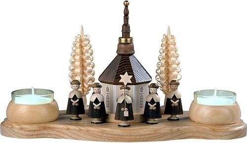 Kerzenhalter Seiffener Kirche und Kurrende Teelichte