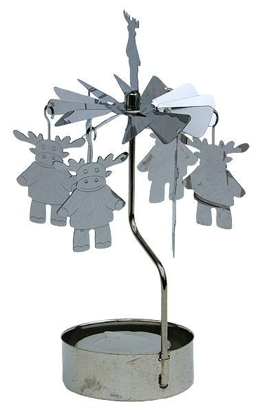 Lichtspiel Silber mit Teelicht - Rentier