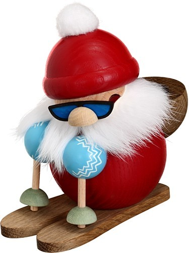 Kugelr�ucherfigur Nikolaus l�uft Ski