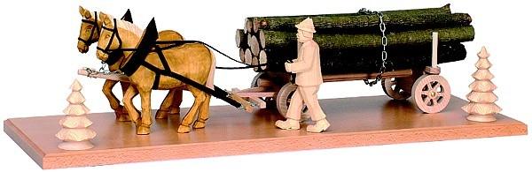 Pferdegespann mit Langholzwagen