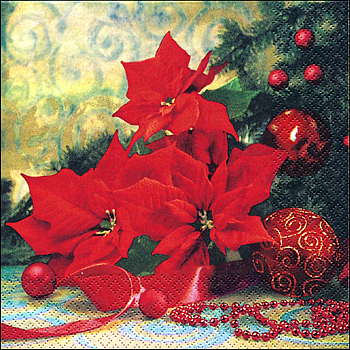 Servietten, Poinsettia with Tree