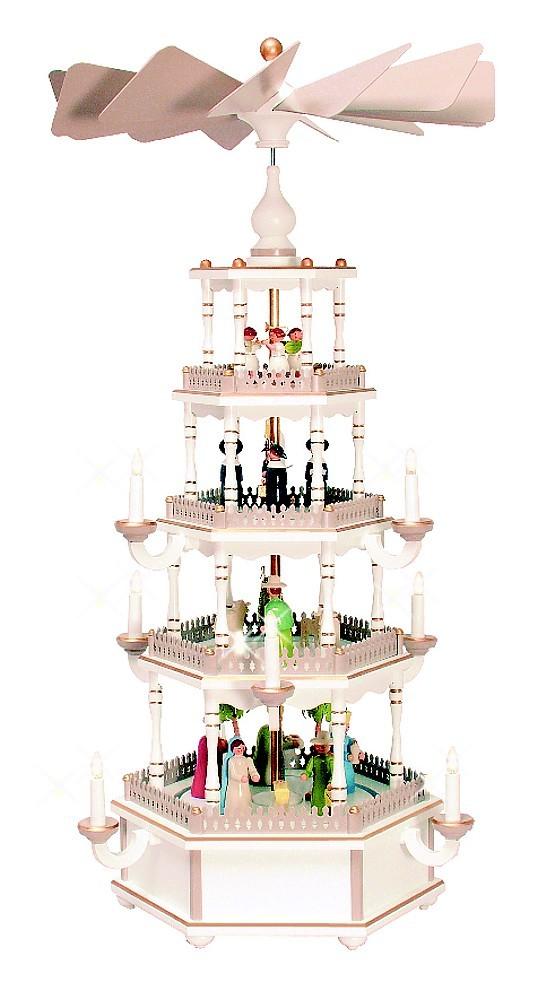 Weihnachtspyramide 4-stöckig pastell/weiß