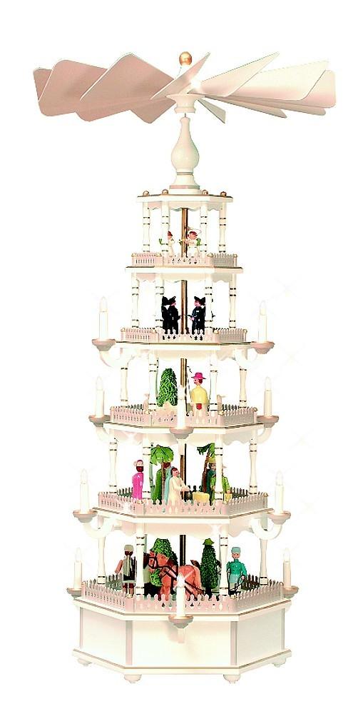 Weihnachtsyramide 5-stöckig pastell/weiß